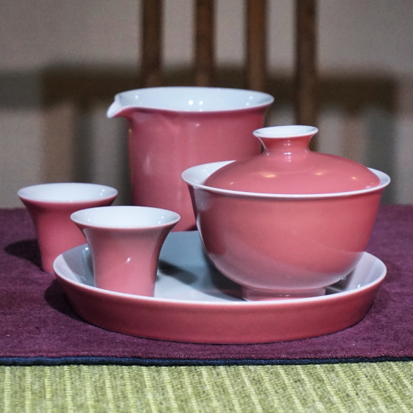 Peach Pink Tea Set
